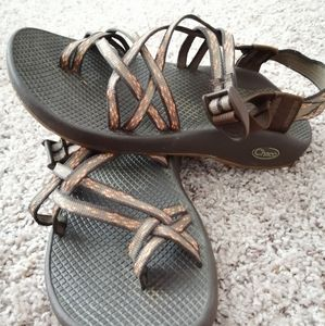Brown and Cherry Blossom Chaco ZX2 Sandals
